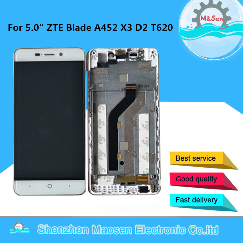 "Original M&Sen For 5.0"" ZTE Blade A452 X3 D2 T620 LCD Screen Display+Touch Digitizer With Frame For ZTE Blade A452 Lcd Display"