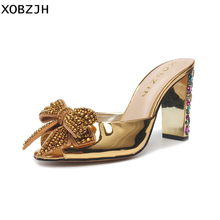 brand designer Gold sandals women luxury 2019 Leather High Heels Ladies Wedding&party G Shoes Open Toe Crystal Heel shoes woman brand new rome gladiator sandals women 2017 mixed color flowers leather thick high heels wedding shoes woman open toe luxury