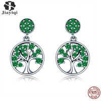 Jiayiqi Hot Sale 100% 925 Árvore Da Vida Árvore Deixa Brincos de Cristal Verde De Prata Esterlina Charme Para As Mulheres Jóias Da Moda