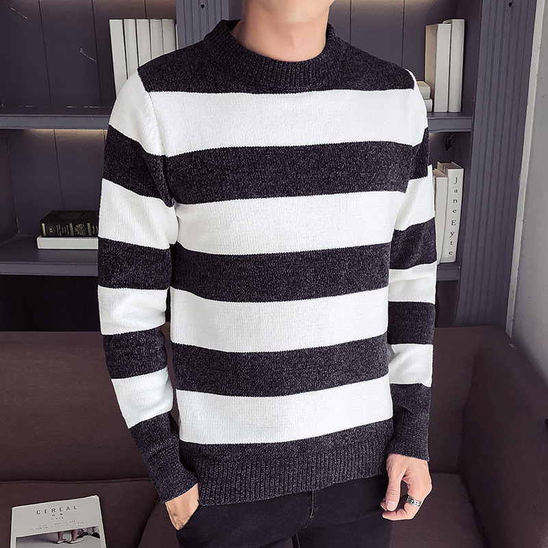 Autumn And Winter New Pattern Round Neck Pullover Stripe Fashion Unlined Upper Garment Male men sweaters Free shipping in Pullovers from Men 39 s Clothing