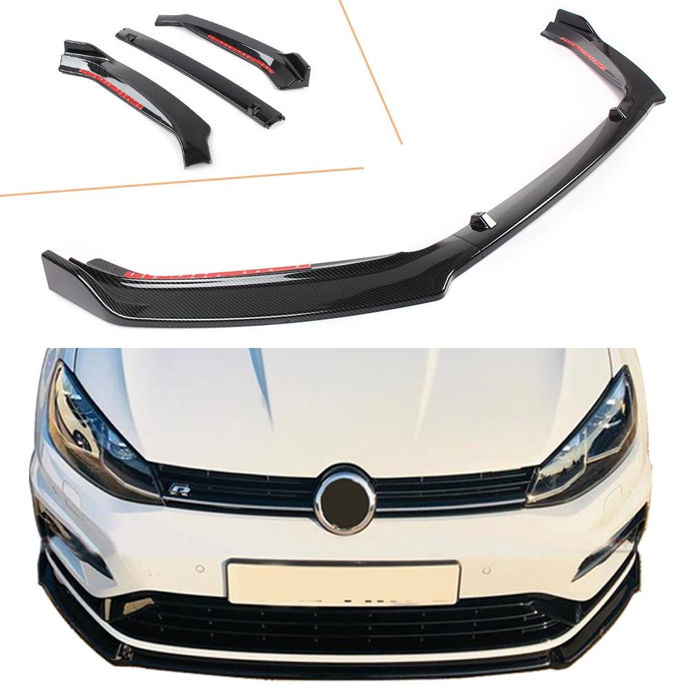 Golf 2013 2014 2015 2016 2017 Front Bumper Lip Spoiler For Volkswagen 7.5 Model Carbon Fiber Styling ABS Plastic