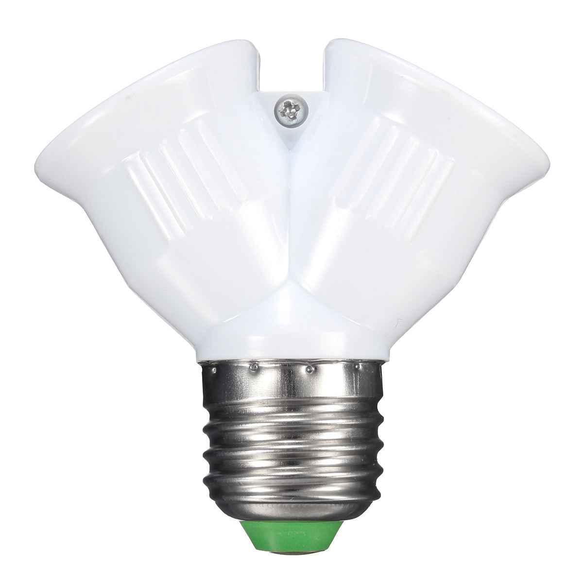 New Lamp Base E27 To E27 Double Socket Lamp Base Holder Converter Splitter Adapter For Led Light Lamp Bulb 1A 220V