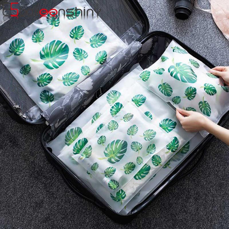 Folhas Verdes BalleenShiny 5 pçs/set Neaten Roupas Sacos De Armazenamento De Lavanderia Quadrado Fosco À Prova D' Água Maquiagem Organizador de Bolsa de Viagem