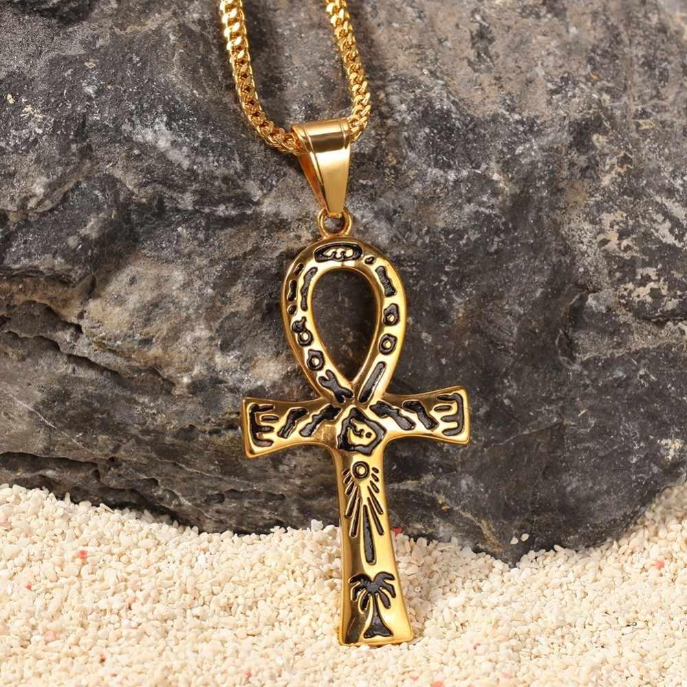 UWIN w stylu Vintage złoty kolor Ankh wisiorek i naszyjniki klucz do życia egipt krzyż biżuteria ze stali nierdzewnej hip hop łańcuchy dla mężczyzn