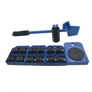 Image 1 - 5 pcs 전문 가구 전송 기중 장치 도구 세트 무거운 물건 이동 손 도구 세트 휠 바 발동기 장치