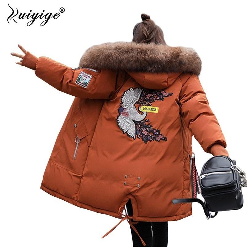 Ruiyige 2018 New Winter Jacket Coat Women Long Thick Warm   Parka   Fur Collar Hooded Coats Outwear Female Overcoat Plus Size S-4XL