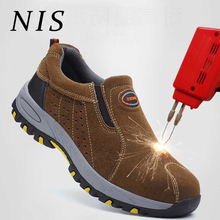 NIS Casual Lightweight Men Work Safety Shoes Steel Toe Anti-smashing Anti-puncture Slip-on Shoes For Hiking Climbing Sneakers