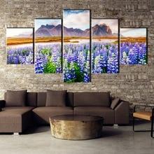 цена на 5 Piece HD Print Large Lupine Flowers Cuadros Decoracion Landscape Canvas Wall Art Home Decor For Living Room Canvas Painting