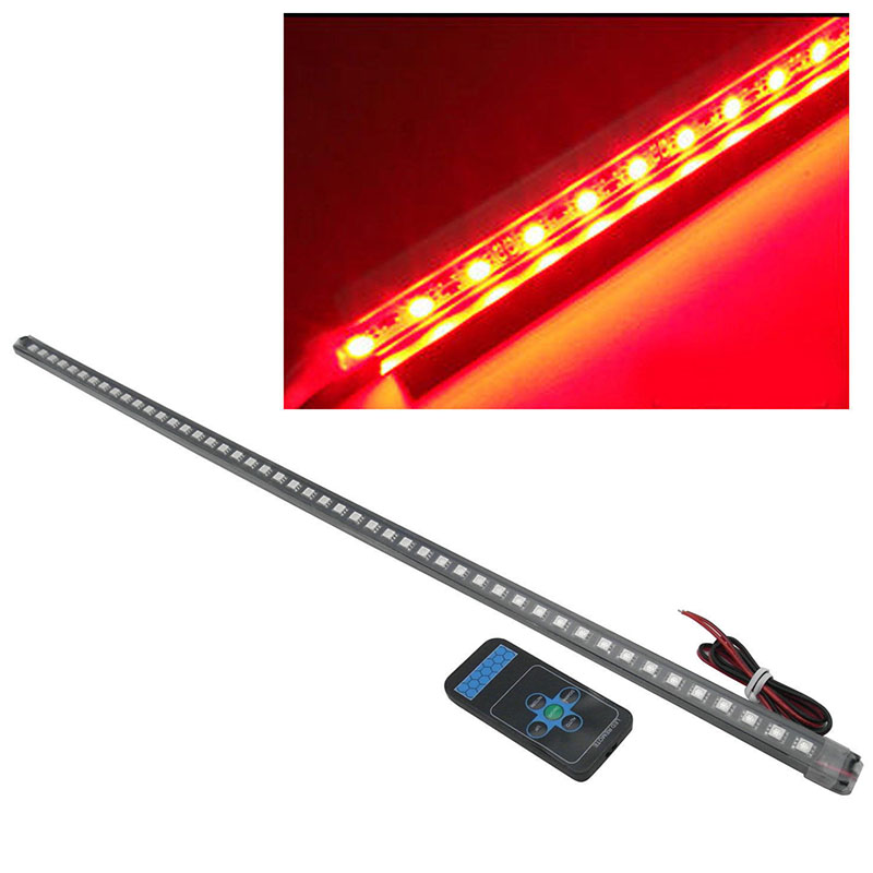 JX-LCLYL 1set 56cm 48LED 5050 Waterproof Flash Car Knight Rider Strip Light Red+Remote