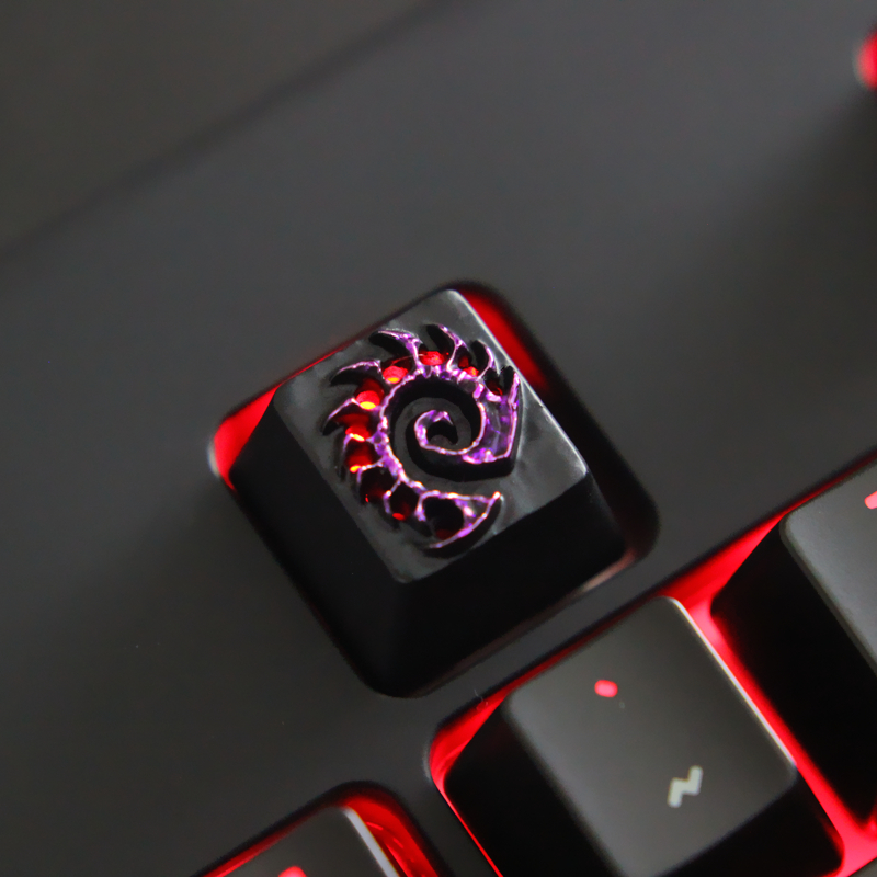 1 Piece Zinc Aluminium Alloy Backlit Key Cap For Mechanical Keyboard Starcraft 2 SC2 Zerg Stereoscopic Relief Keycap R4 Height