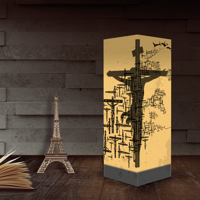 Usb Novelty Led Night Light Jesu Cross Christiana 3d Paper Lantern Luminaria Gifts For Christian Religious Catholicism Orthodox
