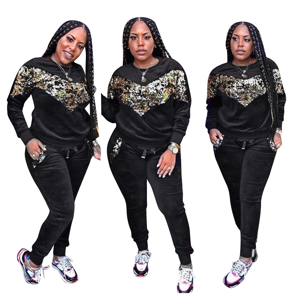Two Piece Set Women Autumn Thick Velvet Sportwear Long Sleeve Tops And Long Pants Ladies Sequin Tracksuit Casual 2 Piece Set
