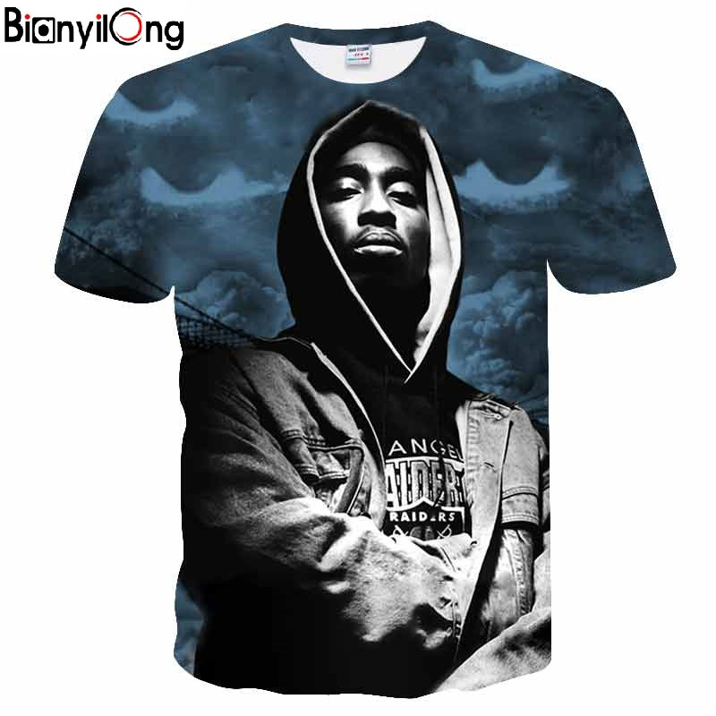 2018 Brand Clothing 2pac Men Tshirts Gangsta Rap Tupac T Shirt Hip Hop Gang Related Print Women Men Tupac Tee T -Shirts 19 Style image