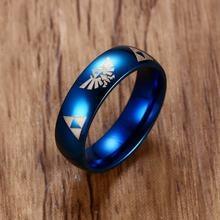 Мужская легенда о Зельде triforce голубое кольцо из нержавеющей
