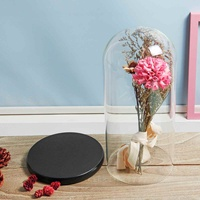 Large Glass Display Bell Jar Dome Cloche With Wooden Base for Rose LED Light Preserved Flower Mother's Day Gifts Wedding Decor