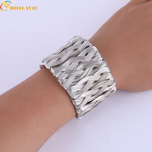 Hollow Wide Cuff Bracelets & Bangles For Women Men Gold Silver Color Alloy Open Big Male Female Bangle Bracelet Fashion Jewelry(China)