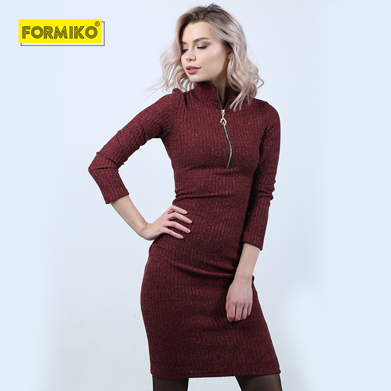 bcdbfee8fcaf8 Formiko Women Autumn Winter Sweater Knitted Dresses Slim Elastic zipper  Turtleneck Long Sleeve Sexy Lady Bodycon OL Robe Dresses