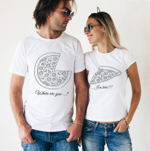 "Couple T-shirts Set ""PIZZA"" Set of 2 Couple T-shirts Love Romantic Matching Tee Tops Clothes His and Hers Shirts"