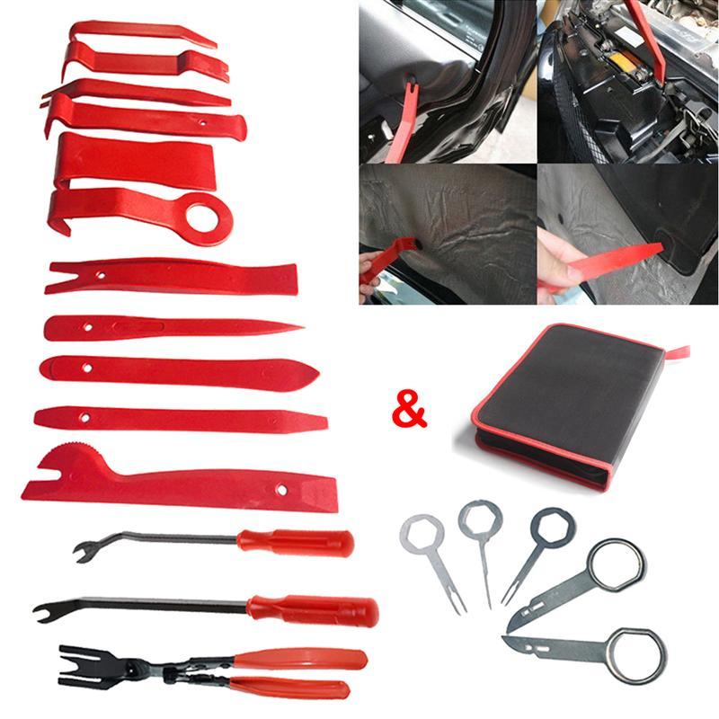 19Pcs Car Radio Audio Kit Stereo Door Trim Dash Panel Install Removal Pry Tools Removal Opening Tool Set DIY Car Repair Kit