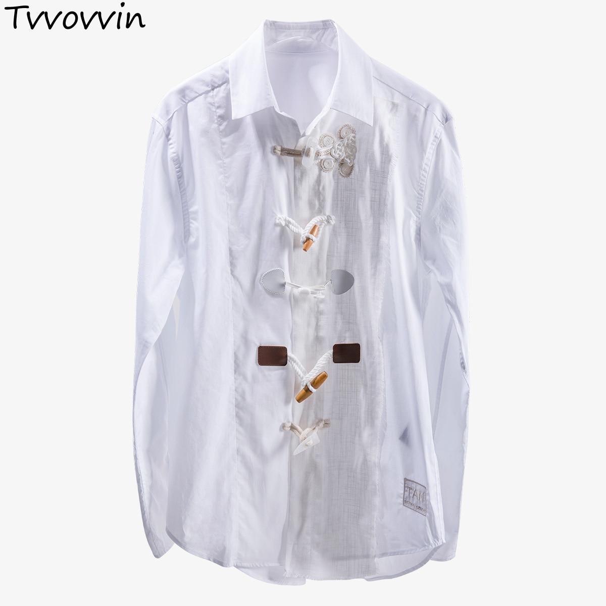 TVVOVVIN 夏 2019 新ラペル長袖ユニークなデザイン異なるボタンストリートシャツ女性ファッション潮 AS645  グループ上の レディース衣服 からの ブラウス & シャツ の中 1