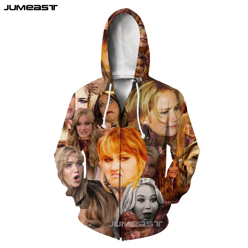 Jumeast Super Funny Expression Men/Women 3D Printed Zipper Hoodies Cold Face Long Sleeve Jacket Sport Pullover Harajuku Style