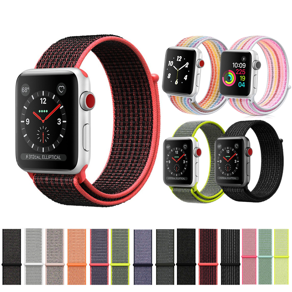 LEONIDAS nylon sport loop strap For Apple Watch band 42mm 38mm iWatch 3/2/1 bracelet hook-and-loop wrist watchband accessories sport loop for apple watch band case 42mm 38mm nylon watch strap bracelet with metal frame protector case cover for iwatch 3 2 1