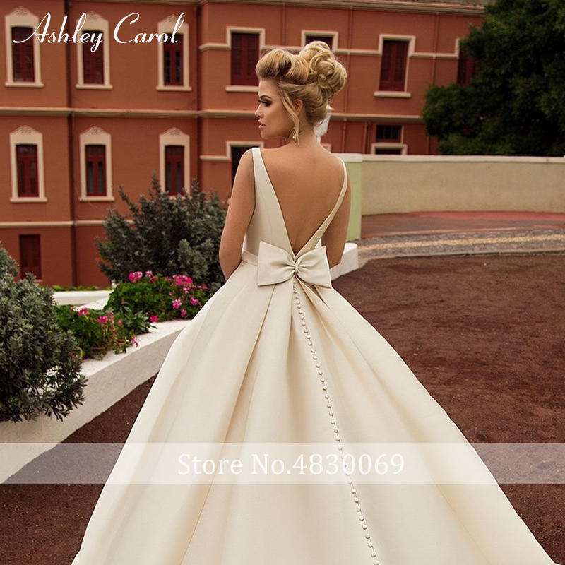 Image 4 - Ashley Carol Sexy Backless Bow Soft Satin Princess Wedding Dress 2019 New Elegant Scoop Sleeveless Simple Vintage Wedding Gowns-in Wedding Dresses from Weddings & Events