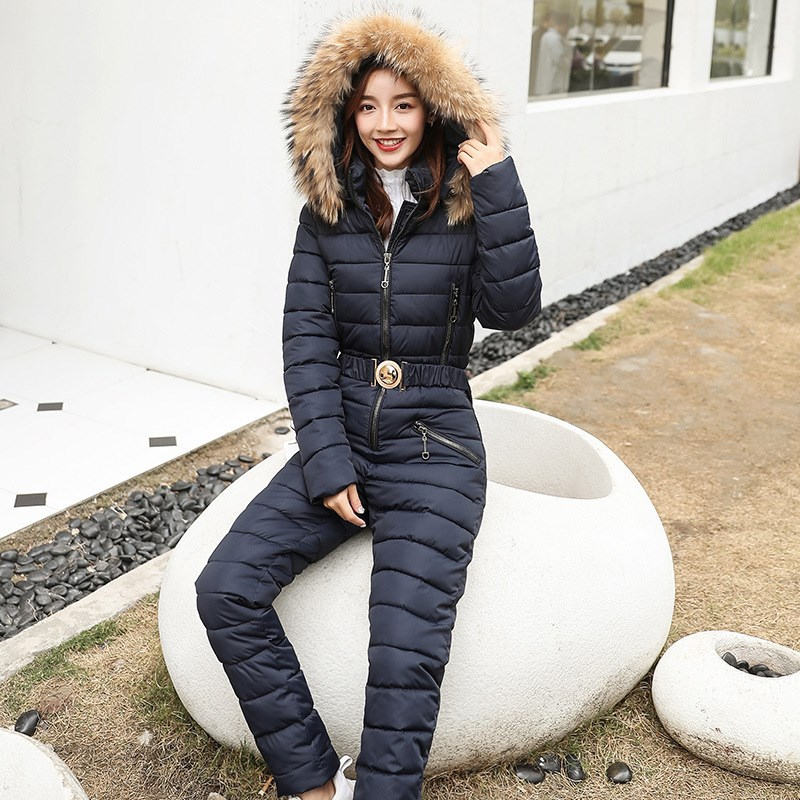 Women Casual Zipper Warm Cotton Padded Hooded   Jumpsuits   Vintage Solid Color Jacket Coat Sashes One Piece Winter Tracksuits