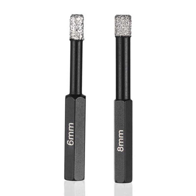 2Pcs Dry Drilling Bits With Hex Shank For Granite Marble Ceramic Tile Glass Vacuum Brazed Diamond Drill Bits (1Pc 6Mm 1Pc 8Mm)