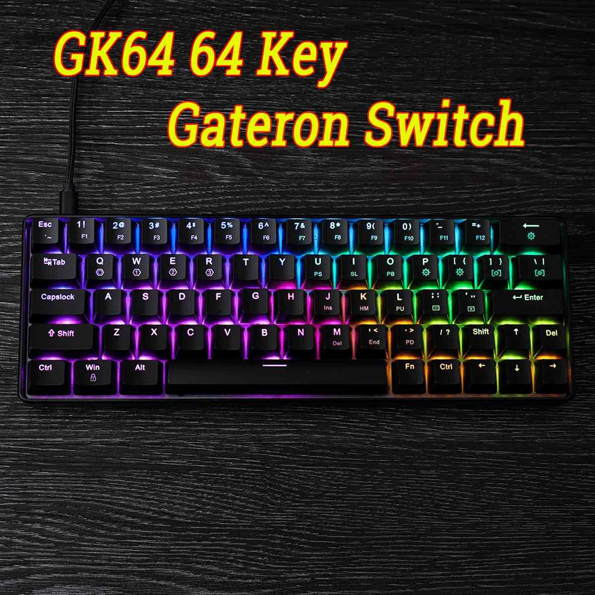 Game-KeyboardGK64 64 touches Gateron commutateur clavier mécanique Geek chaud remplaçable CIY commutateur RGB rétro-éclairé mécanique clavier de jeu