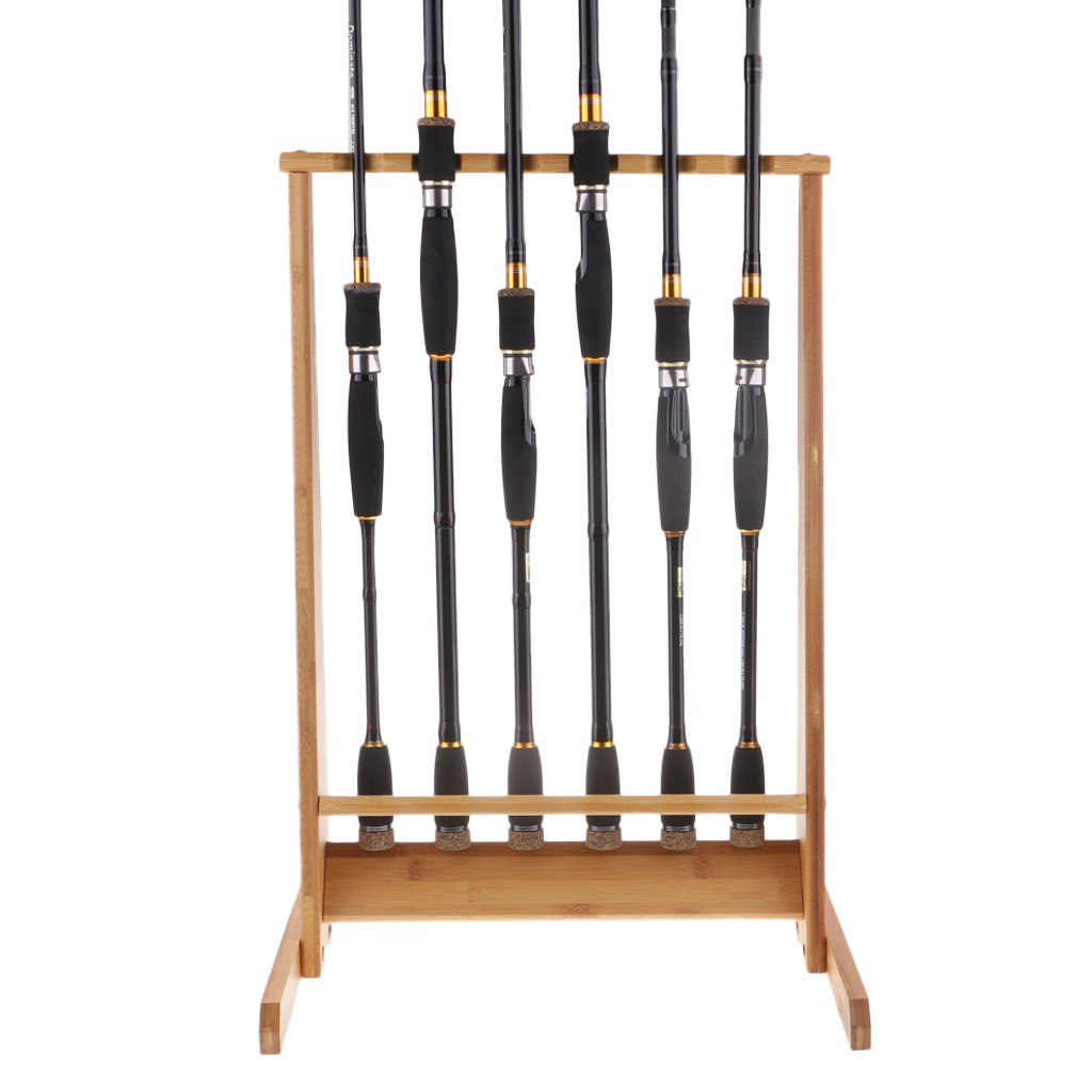 6 rod Portable Fishing Rod Rack Wooden Holder Rod Stand Display For Storing Fishing Poles Boat