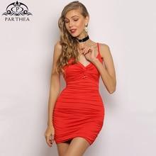 Parthea 2 Layers Summer Mini Dress Women V-neck Hollow Out Bodycon Backless Beach Casual Club Sexy Robe 2019 Vestido