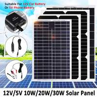30W 20W 10W Solar Panel Plate 12V/5V Flexible Solar Charger For Car Battery 12V 5V Phone Battery Sunpower Monocrystalline Cells