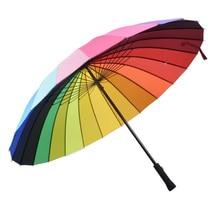 Hot Sale 24K Rib Color Rainbow Fashion Long Handle Straight Anti-Uv Sun/Rain Stick Umbrella Manual Big Parasol