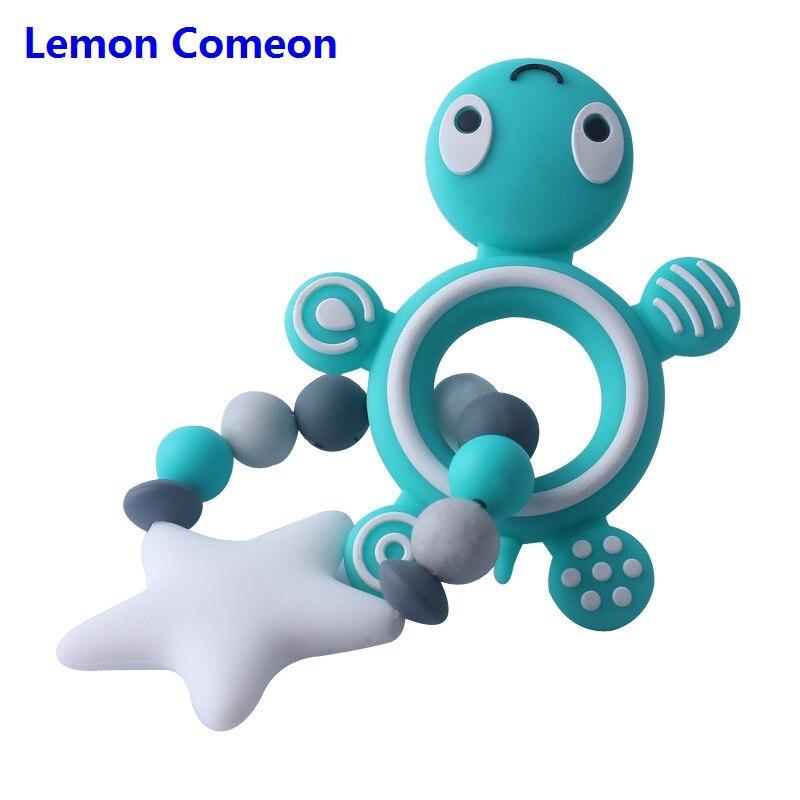 Limão Comeon Pulseira Tartaruga Silicone de Grau Alimentício Silicone Mordedor Roedores Tartaruga Cinco Estrelas Beads Fazer BPA Livre Bebê Mordedor