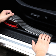 цена на 2.5m Universal Carbon Fiber Car Door Plastic Sill Scuff Plate Guards Side Trunk Bumper Cover Protector Sticker Strip Car Tuning