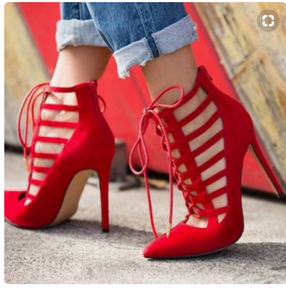 Sexy Red Suede Wedding Shoes Bride Pointed toe Lace-up Cut-out Strappy Sandals Hollow Women High Heels Customized Size 10