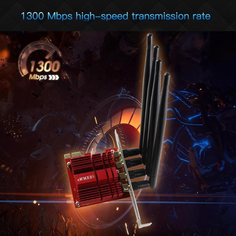 EP-9609 carte réseau sans fil PCI-E 2.4/5 GHz double bande AC 1900 Mbps PCI Express adaptateur WiFi de bureau avec antennes 4 * 5dBi pour gagner - 3