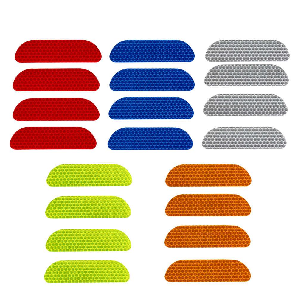 4 قطعة/مجموعة باب السيارة عجلة الحاجب ملصق مائي علامة السلامة شرائط عاكسة سيارة التصميم ملصقات عاكسة شريط تحذيري