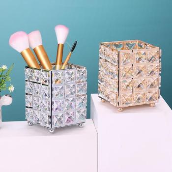 Organizador de tubo de maquillaje de cristal de Metal de lujo, herramientas de belleza, almacenamiento, brocha de maquillaje, soporte de escritorio para lápiz, adornos decorativos