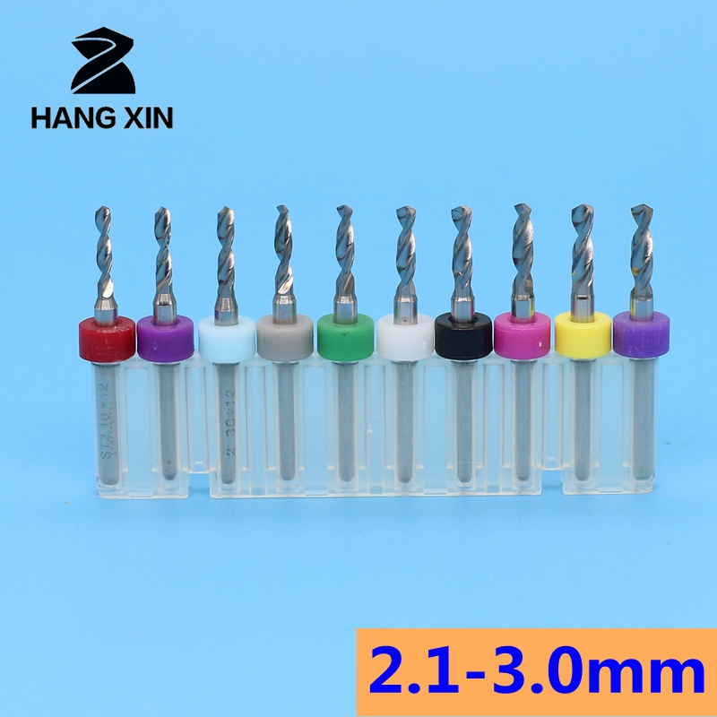 10pcs 2.1mm-3.0mm Carbide PCB Drill Bit CNC Router Wood Metal Wood Cutting Board Engraving Exercise Tool