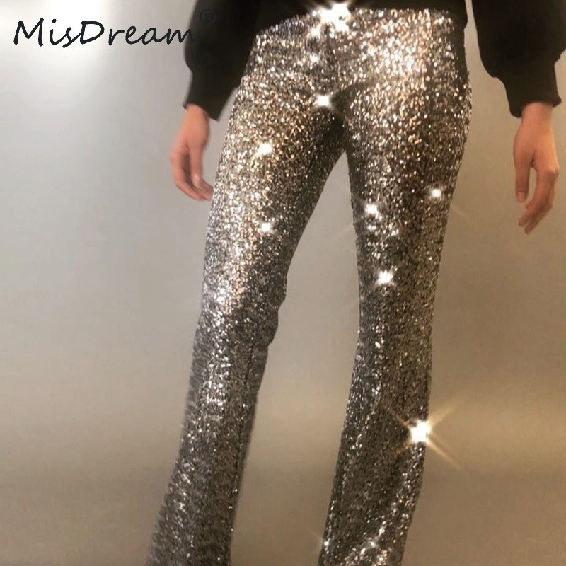 MisDream Glitter Sequin High Waist Pants Women Sexy Night Party Paillette Flare Pants Gold Clubwear Side