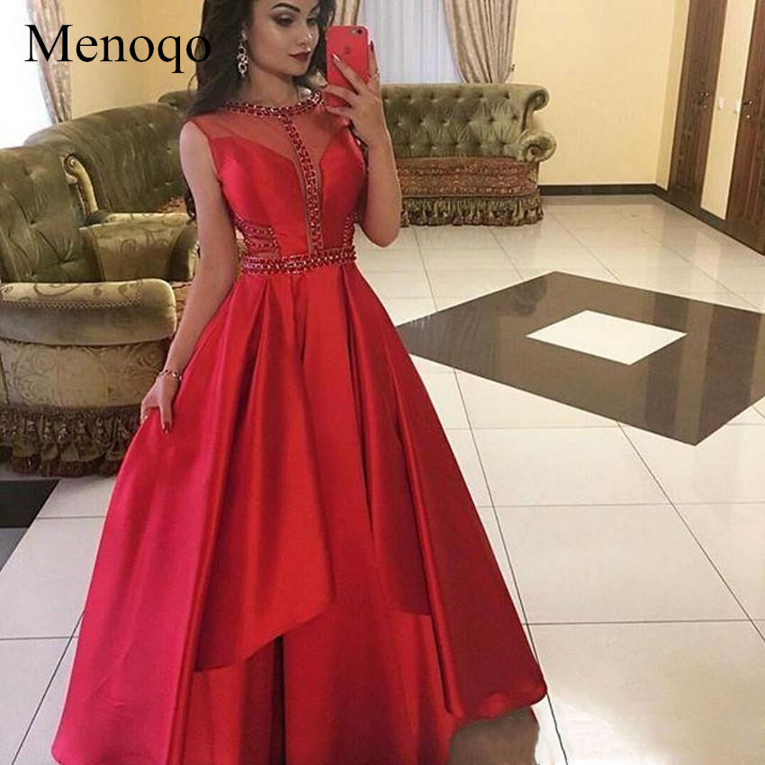 Menoqo High Quality Red Crystal   Prom     Dresses   Jewe Neck Cutaway Draped   Prom   Gown Satin Evening Party Gowns