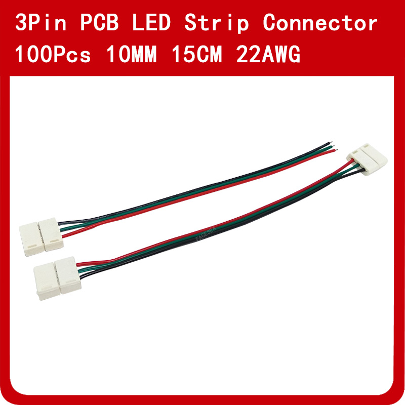 100pcs/lot 10mm 3pin LED Connector Wire cable PCB free welding 15cm for RGB CCT LED Flexible Strip