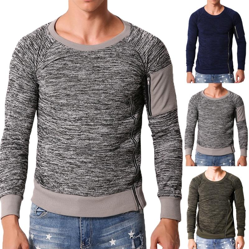 2018 Muscle Tee Autumn Men Long Sleeve T-Shirts Male TShirt Slim Plain Zipper Joggers T Shirts Men Clothing Masculina Camisas