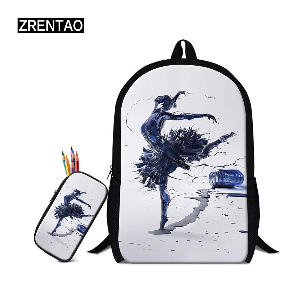 Children Ballet printing backpack School backpacks 2pcs/set Girls Boys Bags Waterproof Back pack Kids Satchel Schoolbags mochila