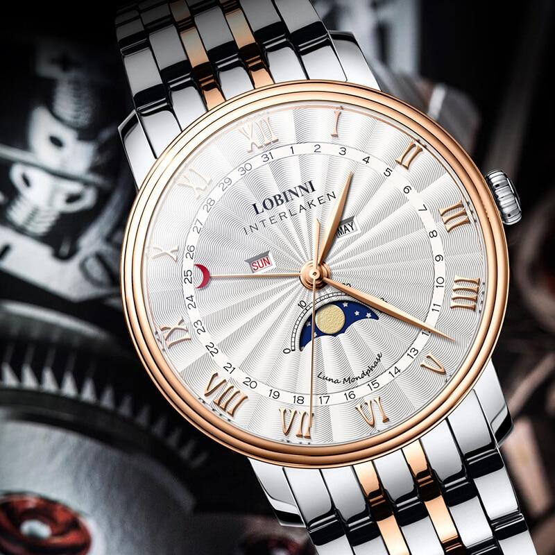 Lobinni 고급 브랜드 남자 시계 스위스 시계 남자 사파이어 방수 달 단계 reloj hombre 일본 miyota 운동 l3603m2-에서수정 시계부터 시계 의  그룹 2