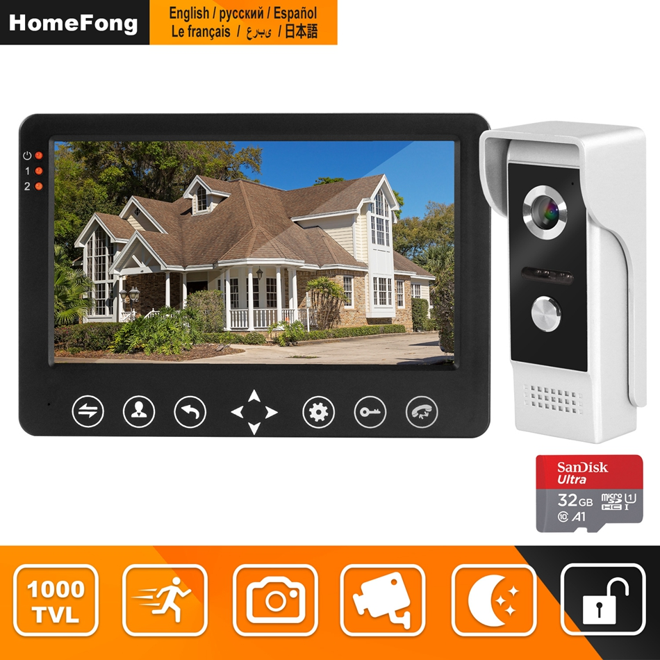 HomeFong video intercom 7 inch HD Wired video door phone Camera Support IR Night Vision motion
