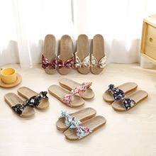 купить Hotsale Women Summer Slippers Breathable Linen Flip Flops Floral Bow Shoes Slides Flat Harajuku Slippers Ladies Cloth Shoes Bow онлайн