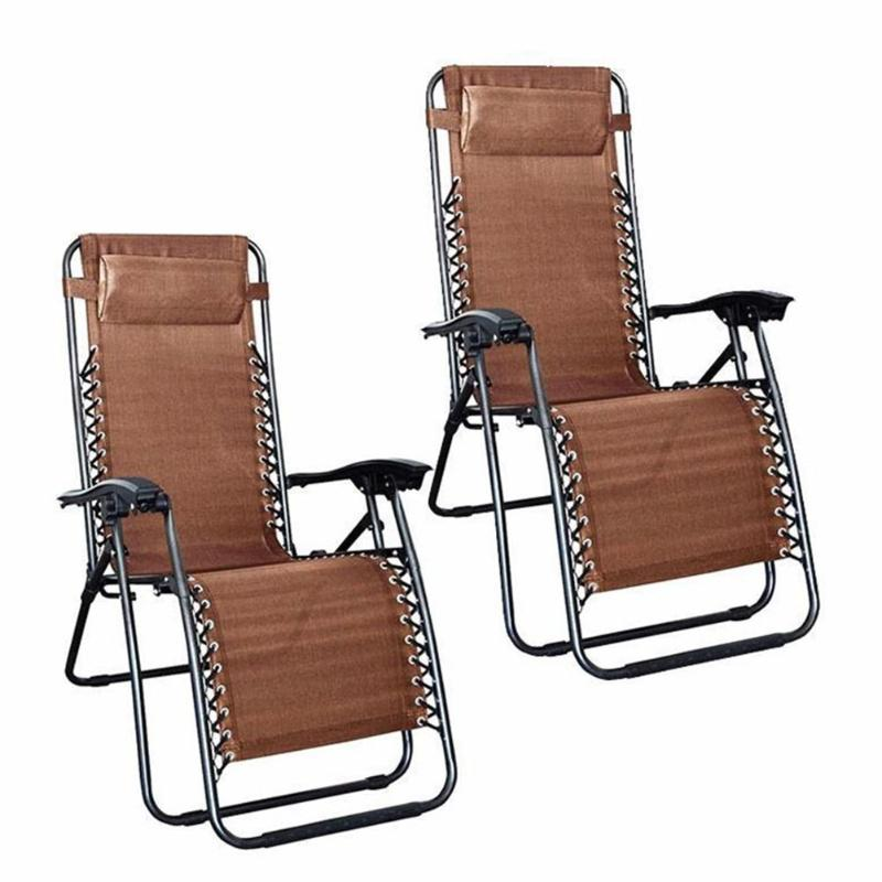 2Pcs Iron Pipe Folding Chairs with Saucer Rest Nap Chair Bed ...
